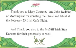 Thank You - Mary Courtney, John Redman of Morningstar - McNiff Irish Step Dancers