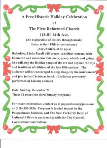 free historic holiday celebration