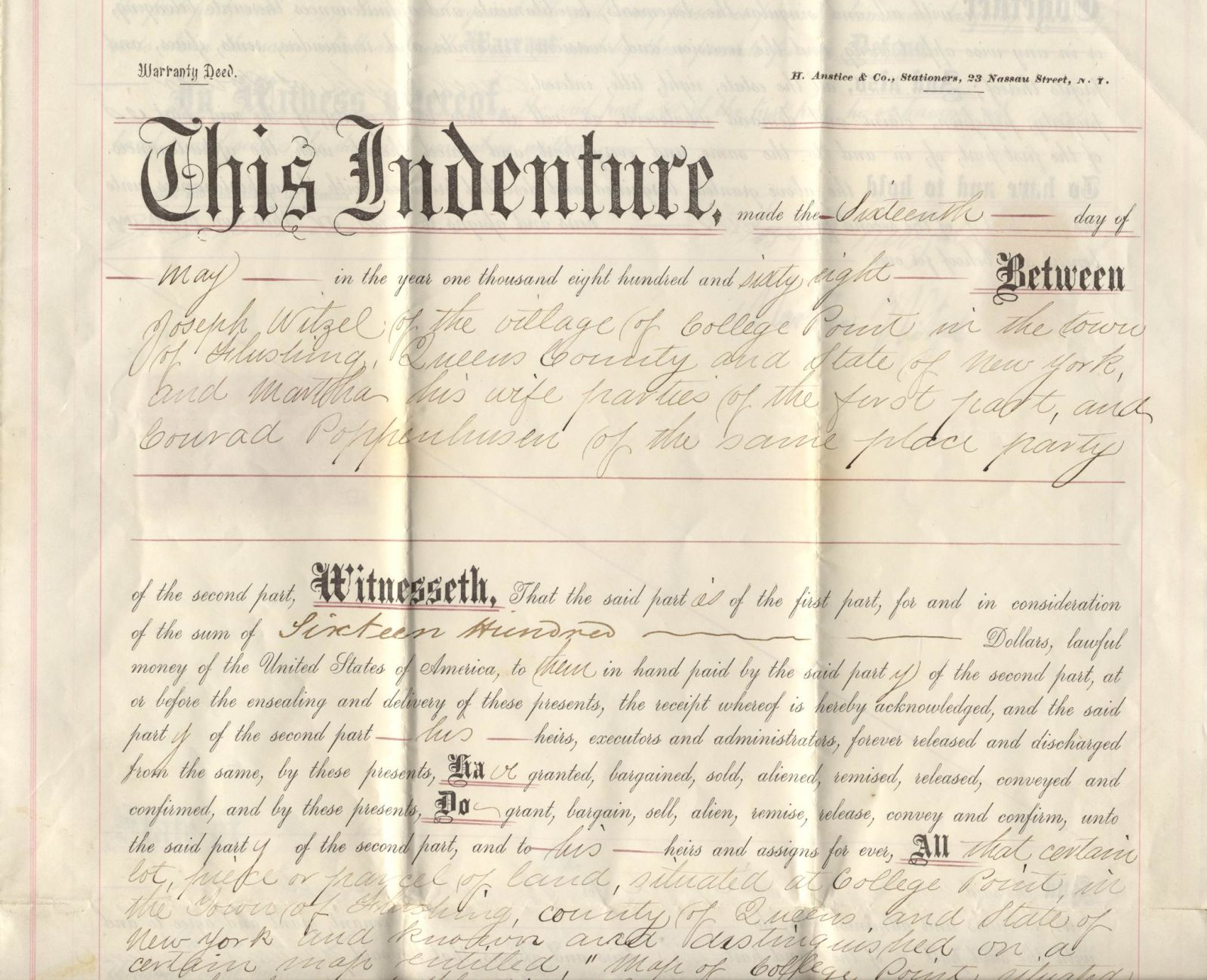 The Poppenhusen Institute Original 1868 Deed