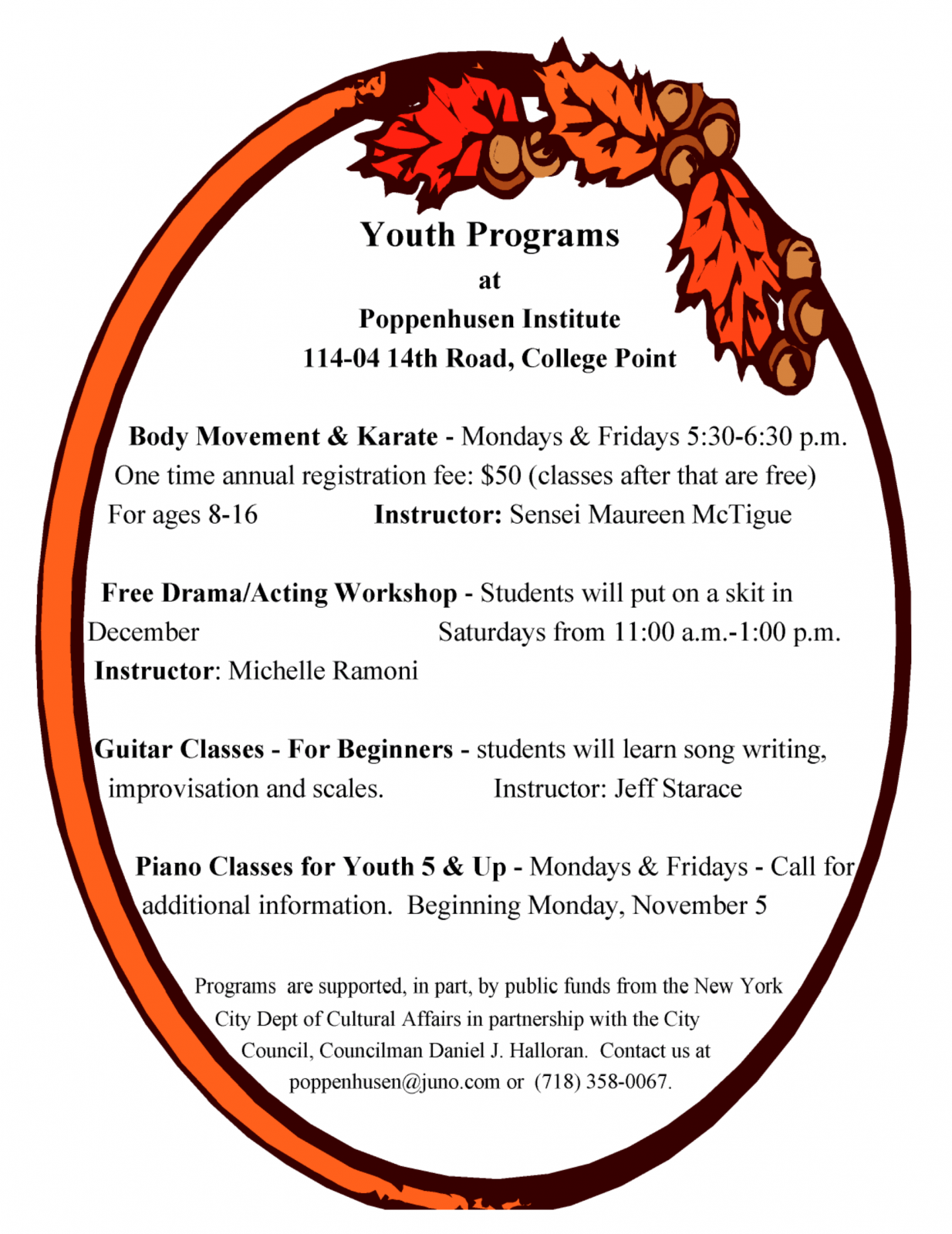 Youth Programs at Poppenhusen Institute Chart